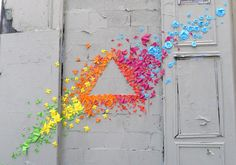 Origami Street Art - looks like they are flying like birds