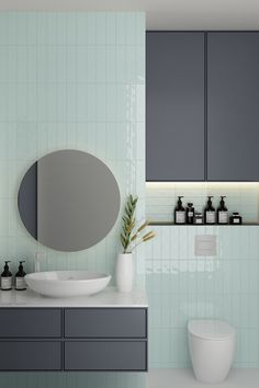 Tile Warehouse has NZ's Largest Range of Award Winning Tiles and Architectural Stone. New Zealand's Most Trusted & Leading Tile Supplier. Mint Bathroom, Beach House Bathroom, Bathroom Renos, Bathroom Colors, Small Bathroom, Mint Walls, Black White Bathrooms, House Extension Design, Bathroom Vanity Units