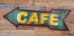 Double sided CAFE sign made from reclaimed plywood $85.00