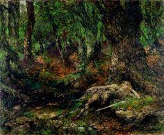 Der junge Siegfried im Wald an einer Quelle (1895), painting by Ferdinand Leeke (1859-1937), from Act 2 of Siegfried (1871), by Richard Wagner (1813-1883).