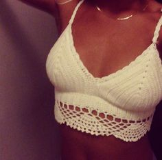 Spring / Summer Outfit - White Crochet Crop Top - LOVE THIS I WANT!!! ❤