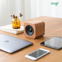 Sugr Cube Minimalist Speaker Elegant Design and Accurate Sound Bluetooth Compatible with iPhone, iPad, Samsung and Charge with USB,Works with Echo Dot (Vintage Cherry Wood) Wireless Sound System, Sound Speaker, Diy Speakers, Waterproof Bluetooth Speaker, Bluetooth Speakers, Diy Amplifier, Electronic Gifts For Men, Speaker Box Design, Radios