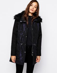 Reiss Parka in Jacquard with Faux Fur Trim