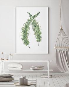 Set of 3 fern frond watercolour prints. Set of Three Green Botanical Decor, 3 Piece Tropical Fern Decoration, Exotic Foliage Wall Art Plant Art, Boho Interior, Living Room Decor, Home Decor Decals, Wall Art Prints, Etsy, Leaf Prints, Botanical Decor