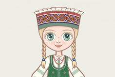 Doll in Lithuanian National Dress (Graphic) by zoyali · Creative Fabrica Illustrations, Graphic Illustration, Back Art, Scene Creator, Line Design, Historical Clothing, Design Bundles, Vector Design, Lithuania