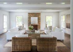 Calla McNamara Interiors  Living Room, Colonial Renovation, White Sofas, Ceiling Beams, Wicker Chairs, Westport, CT   www.callamcnamara.com