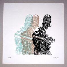 Lichtgestalt - Original Linoldruck - Limitierte Edition von 10 // Kunst, Druckgrafik, Druck, Bild, Strandszene, Skulptur