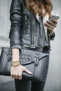 Reece Hudson Black Leather Clutch