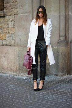 winter outfit - White trench coat + black leather trousers and oxblood colored leather bag