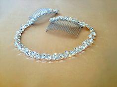 Rhinestone Bridal Headpiece Crystal Hair Tiara by FashionaryDesign