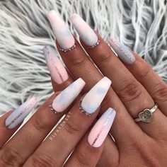 50 Awesome Coffin Nail Designs You'll Flip For So what are coffin nails? For as long as people have been getting manicures, there have been two primary shapes: round and square. We are ready for different nail designs. Summer Acrylic Nails, Best Acrylic Nails, Summer Nails, Baby Pink Nails Acrylic, Ballerina Acrylic Nails, Pretty Nails For Summer, Chevron Nails, Blue Chevron, Nail Swag