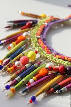 Necklace with paper beads