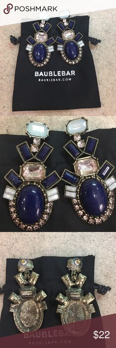Baublebar statement drop earrings Talk about making a statement! Stunning navy, rose and sky blue opalesque stones with intricate brass settings. These babies sparkle and have great movement. The large navy cabochon stones are simply gorgeous! Never worn. Silver-embossed dustbag included. Baublebar Jewelry Earrings