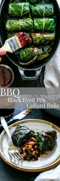 Tangy, hearty and pure comfort food! BBQ Black Eyed Pea Collard Rolls | Vegan, Gluten Free, Vegetarian, Recipe