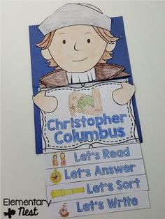 Christopher Columbus flip book with reading and comprehension activities- October Activities for a primary classroom- PLUS a freebie!