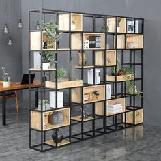 Industrial style solid wood shelf partition porch wrought iron screen shelf home simple office partition book shelf Solid Wood Shelves, Shelves, Home, Office Interiors, Office Partition, Wall Racks, Shelving Design, Minimalist Home, Lounge Design