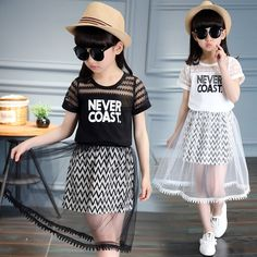 2017 Children Clothing Sets For Girls T-Shirts & Long Skirts Summer Girls Suits 2 4 5 6 8 9 10 12 Years Kids Fashion Suits Girls Summer Outfits, Girl Outfits, Summer Girls, Summer Baby, Stylish Toddler Girl, Kids Dress Wear, Kids Suits, Frocks For Girls, Shirt Skirt