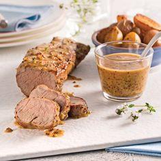 Porc miel et Dijon - Recettes - Cuisine et nutrition - Pratico Pratique Pork Recipes, Gourmet Recipes, Crockpot Recipes, Cooking Recipes, Gnocchi, Pork Ham, Good Food, Yummy Food, How To Cook Pork