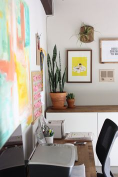 for our next house--would LOVE a working countertop with LOTS of storage underneath. she used ikea's besta system with stained wood on top office remodel part two. - Elise Blaha :: enJOY it.