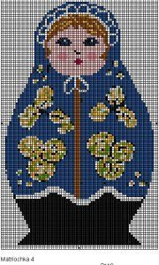 Cross-Stitched Matryoshka Russian Doll