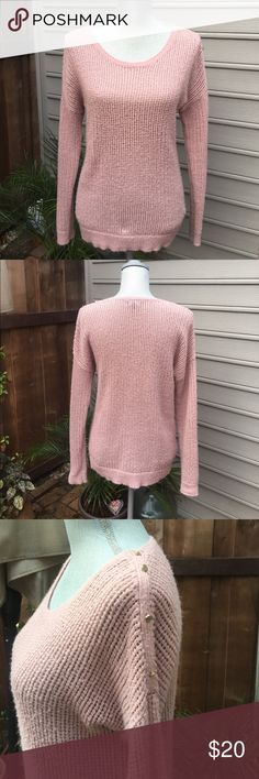 Blush Pink GAP Sweater Blush Pink GAP Sweater. So soft & cute! Gold button detail on left shoulder. Pre loved. As is. Minor polling. In otherwise excellent condition. GAP Sweaters Crew & Scoop Necks