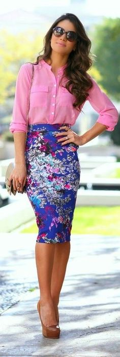 Stitch Fix Stylist - I love the colors of this skirt, I would totally wear this outfit!