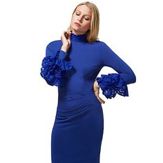 HotSquash Royal Blue High Neck Lace Detail Dress in Clever Fabric | Debenhams Reduced to £84