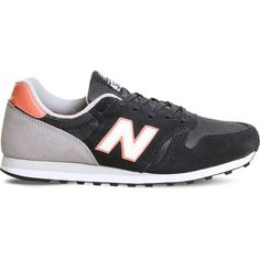 New Balance Wl373 suede and mesh trainers (€32) ❤ liked on Polyvore featuring shoes, navy pink, navy suede shoes, mesh shoes, grip shoes, navy blue suede shoes and shock absorbing shoes