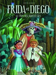 ** LECTURE ** Frida et Diego au pays des squelettes -  Fabian Negrin - Grand album aux illustrations magnifiques, de véritables tableaux aux couleurs vives du Mexique. Fabian Negrin nous emmène au Mexique le jour de la Fête des Morts. On voit les préparatifs de la fête, la veillée, les crânes en sucre... Frida et Diego vont jouer dans le cimetière et se retrouvent dans le monde des morts, guidés par un chien. C'est la fête avec les squelettes avant de remonter vers la vie.