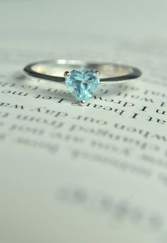 Size 7 Blue Topaz Heart Ring/ Promise by WhiteRoseJewelry on Etsy