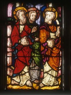 St Philip, St James and St Bartholomew, stained glass 1418, Jacob Kirche, Straubing, Germany,