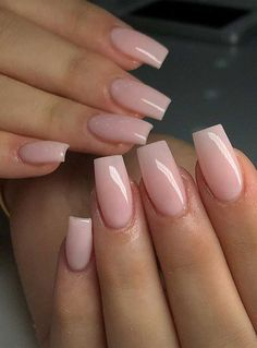 Light Pink Acrylic Nails, French Tip Acrylic Nails, Short Square Acrylic Nails, Natural Acrylic Nails, Purple Nail, Acrylic Nails Coffin Short, Simple Acrylic Nails, Fall Acrylic Nails, Simple Nails