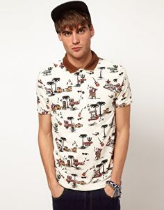 River Island Polo Shirt with Motel Print.