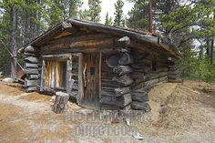 Old log cabin , trappers cabin near Bennett Rapids , Lake Bennett ...