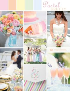 Spring wedding ideas and a pastel color palette of: pink, peach, butter yellow, tea green and sky blue.