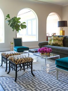 Beautiful Greek key carpet in a striking living room.
