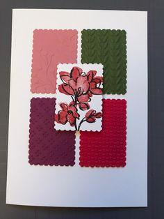 Hoe gaaf is deze kaart van Sirpa van der Heijden?! Ze heeft verschillende embossingfolders gebruikt om relief te geven aan kaartkarton in de kleuren van de combinatie en dan als focal image die prachtige bloem van de Touch of Ink stempelset uit de Sale-A-Bration brochure. Alle paneeltjes zijn uitgeponst met de Rectangel Postage Punch en het ziet er samen geweldig uit. Goed gedaan, Sirpa! #prulleke #prullekekleurencombinatie #stampinupnederland #atouchofinkstampset #kleurencombinatie Stampin Up, Ink, Seeds, Stamping Up, India Ink