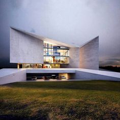 Visions of the Futue // Sayegh Villa by Creato Arquitectos Futuristic Architecture, Residential Architecture, Contemporary Architecture, Amazing Architecture, Art And Architecture, Beton Design, Concrete Design, Unique Buildings, Beautiful Buildings
