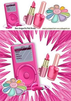 GIRLS PINK MP3 PLAYER AND MAKEUP WITH FUNKY BACKGROUND on Craftsuprint - Add To Basket!