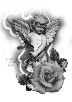 Cupid Tattoo, Cherub Tattoo, Daddy Tattoos, Future Tattoos, Angel Tattoo Designs, Tattoo Sleeve Designs, Tattoo Design Drawings, Tattoo Sketches, Photoshop Tattoo