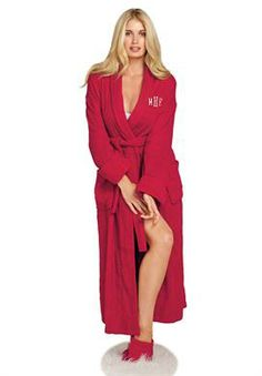 """""""up to 9 letter monogram""""Long terry robe with FREE matching slippers by Dreams & Co® 