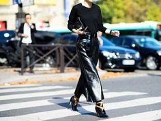 Black-on-black leather skirt + sweater