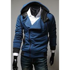 Street Style Side Zipper Studs Embellished Long Sleeves Polyester Hoodies For Men