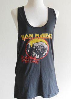 Iron Maiden Shirt The Number Of The Beast Album Heavy Metal Rock -- Music Shirt Women Tank Top Vest Women Sleeveless Black Shirt Size XL. $16.00, via Etsy.