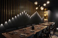 Private dining room 1 at Fujisaki Barangaroo Sydney. Designed by Design Clarity. Private dining room 1 at Fujisaki Barangaroo Sydney. Deco Restaurant, Restaurant Lighting, Restaurant Interior Design, Modern Restaurant, Design Café, Cafe Design, House Design, Design Ideas, Private Dining Room