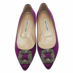 """Manolo Blahnik Hangisi satin flats Manolo Blahnik violet satin Hangisi pointed-toe flats are embellished with a crystal-encrusted square buckle at vamp.  Box not included   0.5""""/15mm heel (approximately).Pointed toe.Satin-covered heel.Slips on.Leather sole. Made in Italy. Manolo Blahnik Shoes Flats & Loafers"""