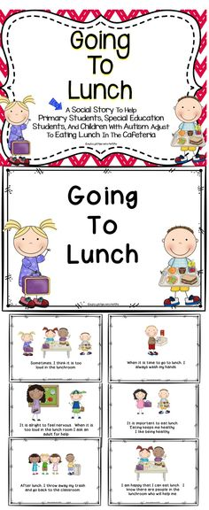 Social Story - Going To Lunch - This is a social story to help ease the anxiety students may feel when going into the school cafeteria. This social story is great for primary students, special education students, and students with autism. #teaching