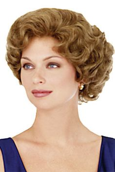 Krissy-Synthetic Short Wigs By Helena Bangs: 5 Crown: 6 Nape: 3 Weight: oz. Color shown : 27 Short Permed Hair, Short Wigs, Permed Hairstyles, Short Hair Cuts, Hair Shaver, 60s Hair, Hair Toppers, Wholesale Hair, Helen Mirren