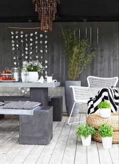 well accessorized patio space