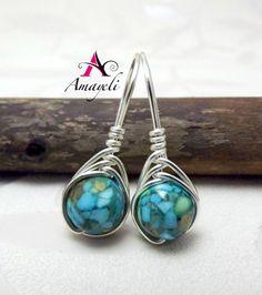 Mosaic turquoise simplicity earrings by Amayeli on Etsy, $16.00